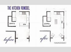 The Kitchen Floor Plans {Before & After Bird's Eye Sketch