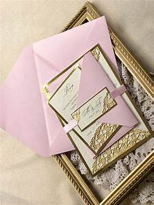 custom listing 20 gold and pink wedding invitation With personalised embossed wedding invitations