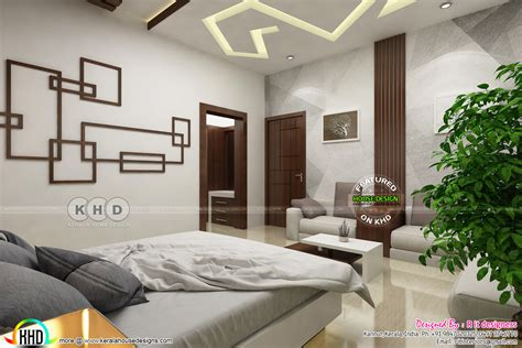 Kitch delightful interior small room style styles modern kerala. Modern master bedroom with false ceiling design - Kerala ...