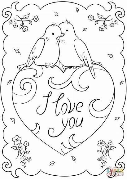 Coloring Card Pages Heart Valentine Cards Printable