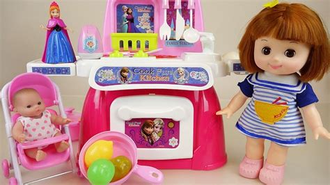 baby doll  frozen kitchen toys play doh cooking play
