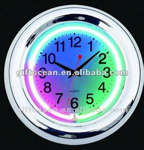 3 Colors Neon Light Wall Clock Decorative Neon Wall Clock