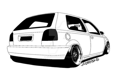 This Is A Mk3 Golf That I Have Applied The Cartoon Outline