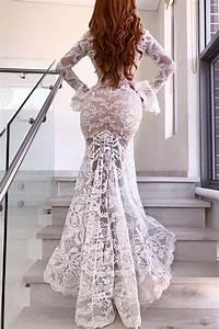 Sexy Long Sleeves White Lace Mermaid Long Wedding Dress