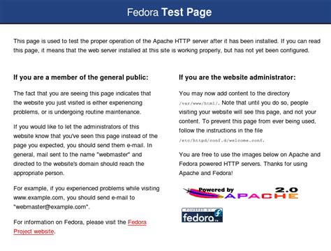 server test page fedora project wiki