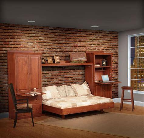amish horizontal wall bed set  side storage