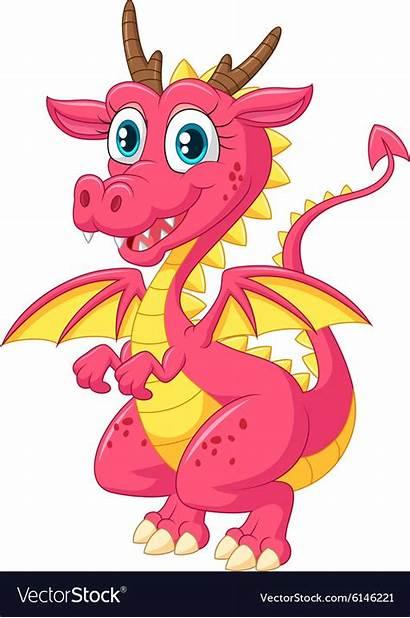 Dragon Cartoon Pink Vector Background Funny Royalty
