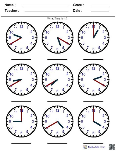 generate random clock worksheets  pre  kindergarten