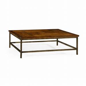 country walnut square coffee table with iron base 491014 cfw With square country coffee table