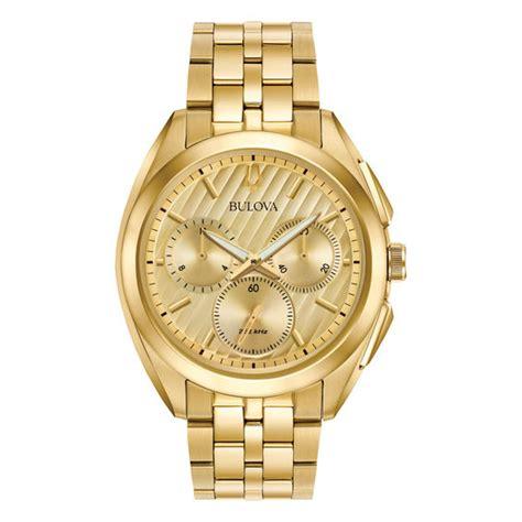 mens bulova curv chronograph gold tone