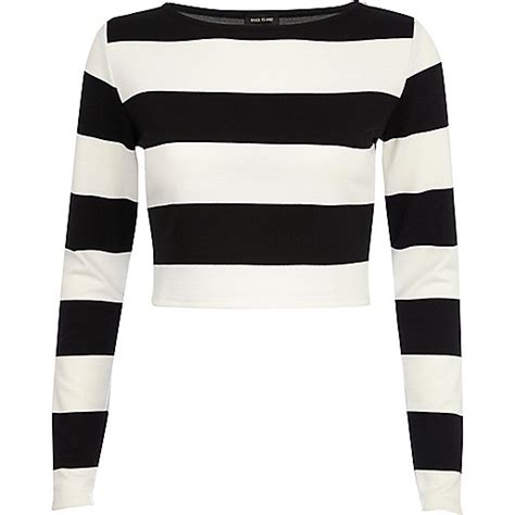 cross blouse white black and white chunky stripe crop top tops sale