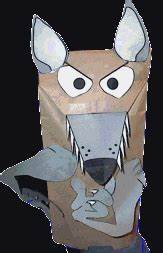 paper bag wolf puppet With wolf puppet template