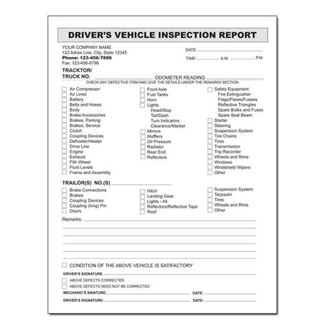 drivers daily vehicle inspection report form templates