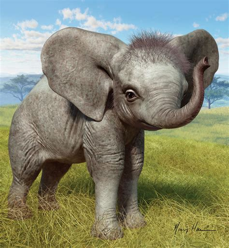 Baby Elephant Painting By Gary Hanna