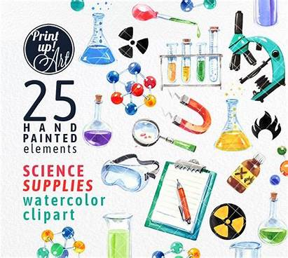 Science Clipart Chemistry Supplies Biology Lab Watercolor