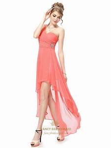 Coral One Shoulder Chiffon Dress,Coral High Low Prom ...