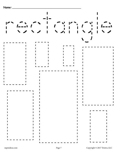 free rectangles tracing worksheet tracing shapes 282 | Various 20Shapes 20Tracing 20pages rectangle 1024x1024