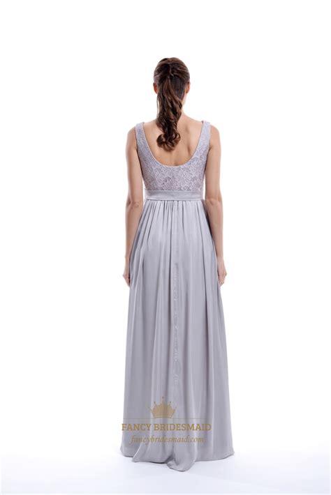 light grey bridesmaid dresses light grey sleeveless lace top and chiffon bottom long