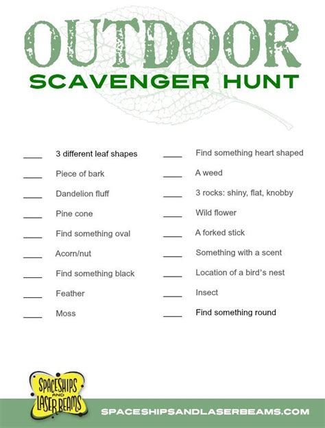 kids projects outdoor scavenger hunt   printable