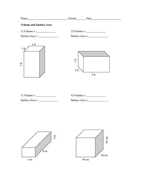 volume worksheet pdf volume and surface area worksheets volume and surface