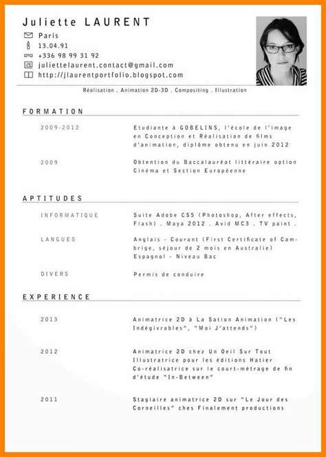 Exemples Des Cv En Francais by Cv Template Francais Prototype Cv Lusocarrelage