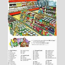 Learning The Vocabulary For A Supermarket Using Pictures  English  English Lessons, English