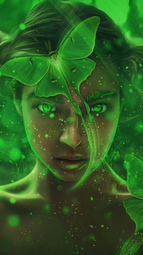 wallpaper fantasy girl forest magic fairy green