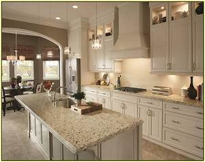 crema pearl granite home depot decor ideas pinterest With kitchen colors with white cabinets with las vegas wall art