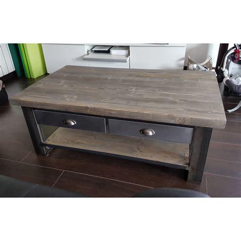 table basse industrielle metal et bois meuble industriel table basse industriel m 233 tal et bois avec tiroir acier m d 233 co industriel