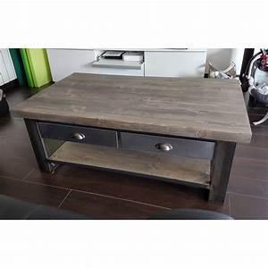 Table Basse Industrielle Avec Tiroir : table basse industrielle tiroir le bois chez vous ~ Teatrodelosmanantiales.com Idées de Décoration
