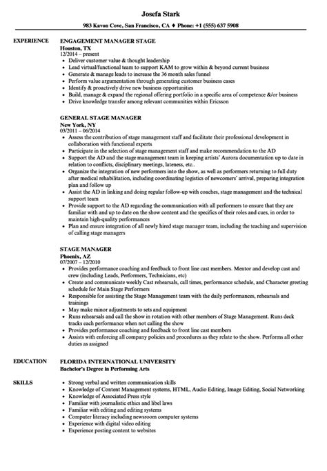 Stage Manager Resume stage manager resume