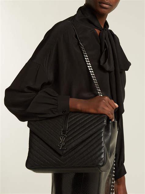 saint laurent college large quilted leather shoulder bag  black lyst