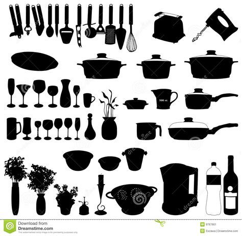 objets cuisine objets de cuisine vecteur de silhouette image stock