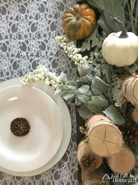 rustic  lace thanksgiving tablescape  call