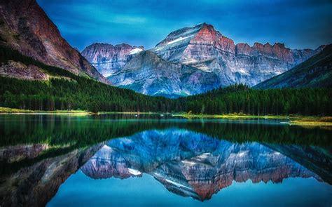 lake mountain forest reflection water sunrise