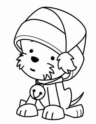 Coloring Puppy Christmas Pages Printable Colouring Puppies