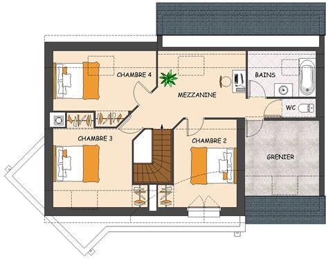 plan maison 4 chambres etage great plan de maison chambres avec grenier et garage with