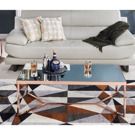 This olivia modern occasional table brings a unique yet classy look to your living room. Furniture of America Raya Contemporary Mirror Top Rose Gold Coffee Table - Walmart.com