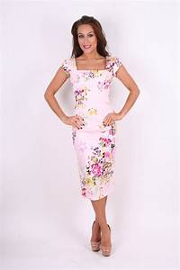 The Pretty Dress Company Cara Pink Seville Floral Pencil ...