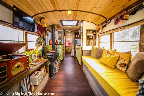 Family Kitchen Design Ideas - young family live in beautiful converted school bus to travel north america living big in a