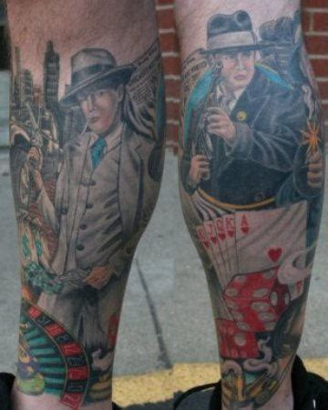 lovely gangster tattoo  legs