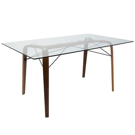 mid century glass dining table lumisource trilogy mid century modern walnut rectangular