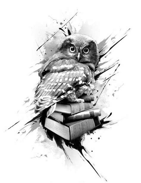 Surprised grey owl sitting on book pile tattoo design - Tattooimages.biz