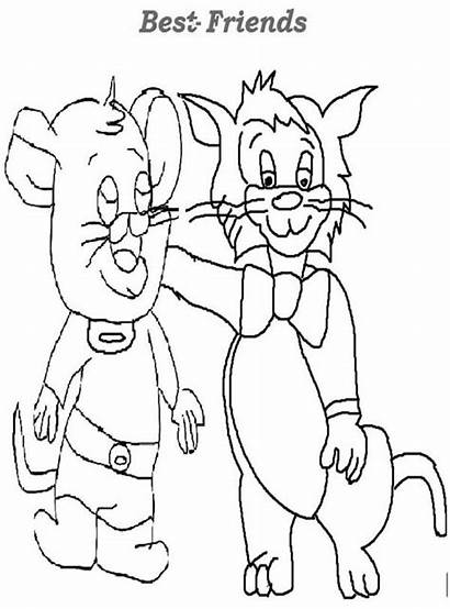 Coloring Friendship Cat Mouse Between Sheet Sky