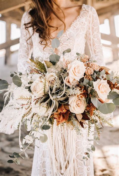 moody boho chic wedding ideas  matching floral wedding