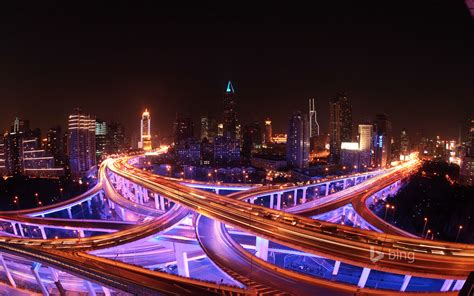 Shanghai Skyline And Highways Lit Up At Night Hd