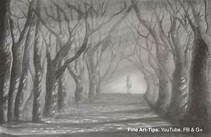 Drawn wood forest landscape - Pencil and in color drawn ...