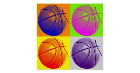 color pop art basketball retro style poster zazzlecom