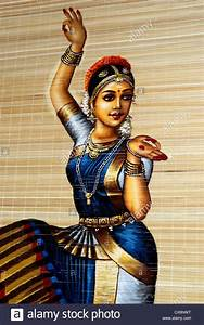 Kerala traditional dancing girl painting on handcrafted for Bamboo curtains kerala