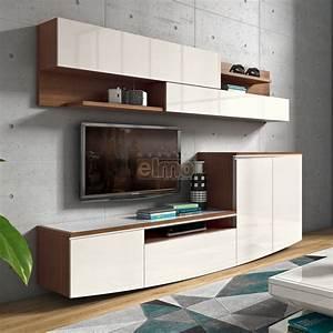 Composition murale meuble TV espaces rangement Laque et bois ELISE